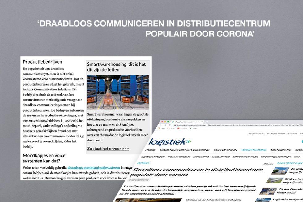 Axitour avec AXIWI mentionné dans l'article de Logistiek.nl: La communication sans fil dans le centre de distribution est populaire en raison de corona